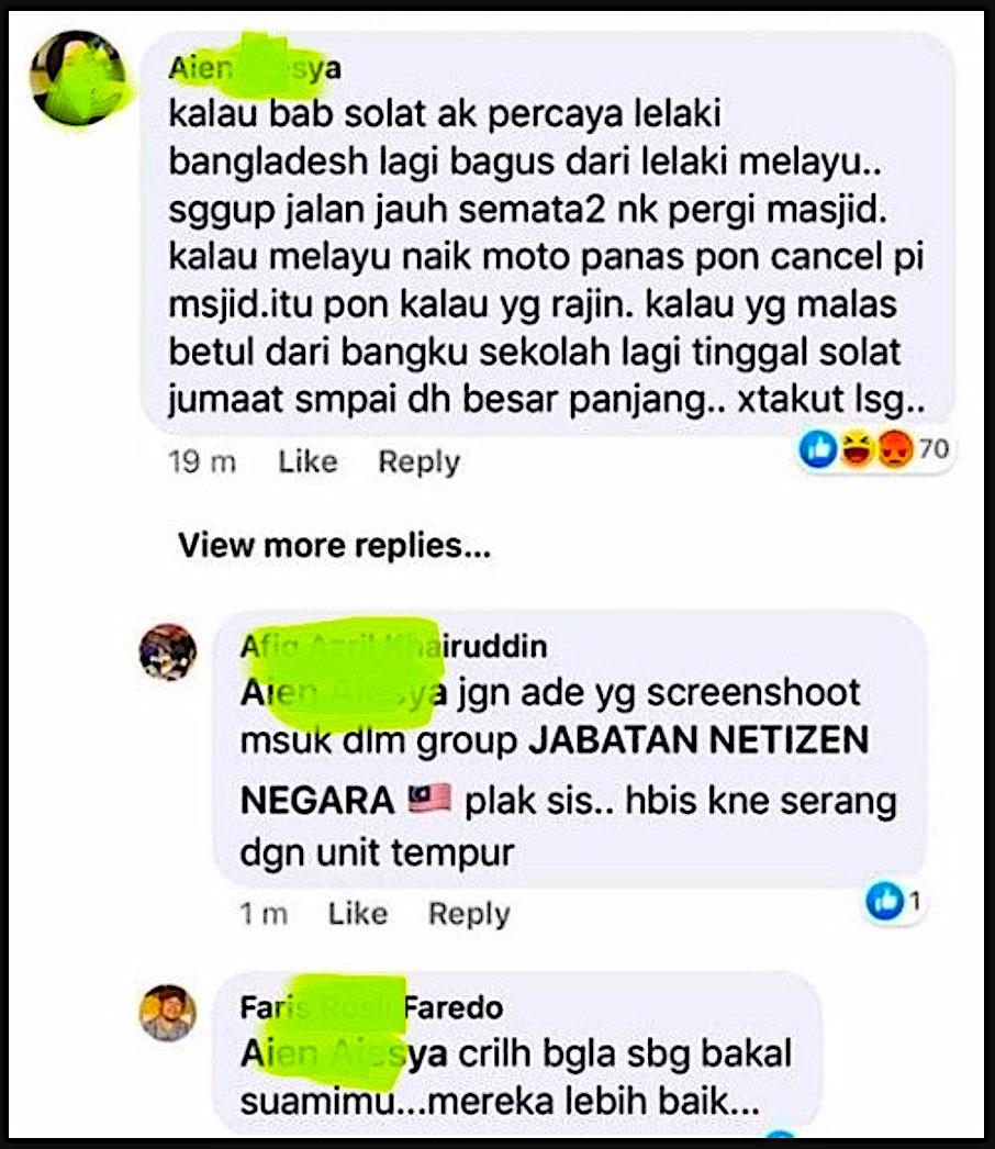 arenagempak.com - 'Lagi Bagus Dari Lelaki Melayu..' Gadis Pertahankan Lelaki Bangla Dan Beritahu Kelebihan Mereka Berbanding Lelaki Melayu